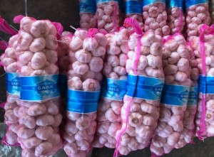 Five containers of 6.0 cm pure white 4 kg packed garlic were sent from Qingdao port to Dubai today